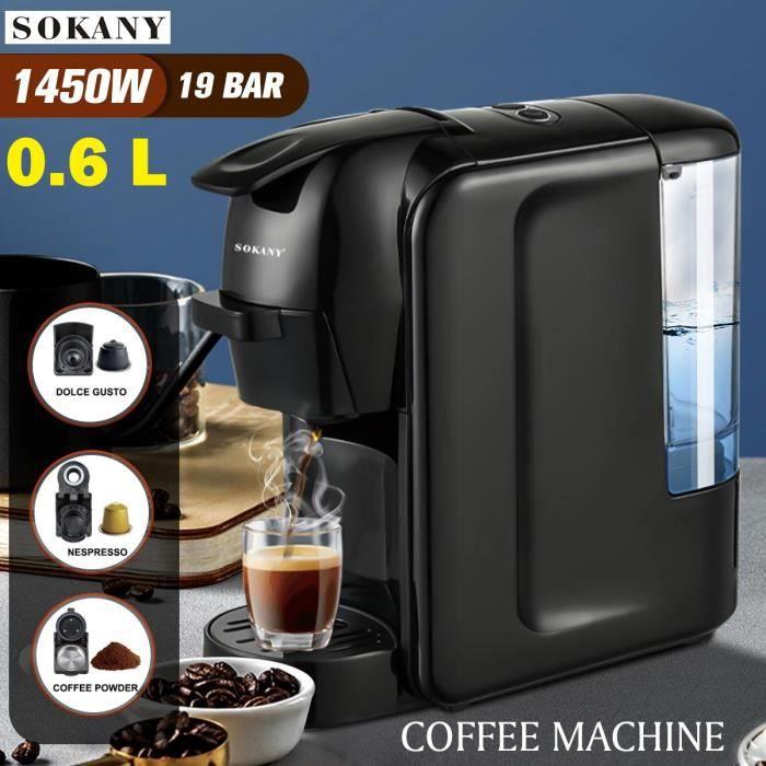 1450W 3 EN 1 Machine à Café à Capsules Expresso Cafetière Filtre Electrique Arrêt Automatique Réservoir d'eau 600ml NOIR