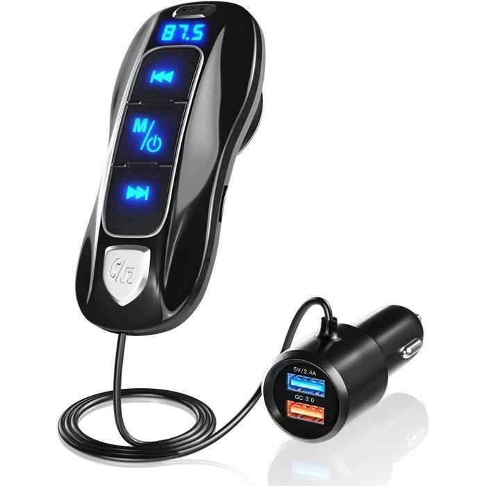 TRANSMETTEUR FM DE VOITURE SONRU Transmetteur FM Bluetooth V5.0, &Eacutemetteur Autoradio Bluetooth Kit Mains Libres pour Voitu18