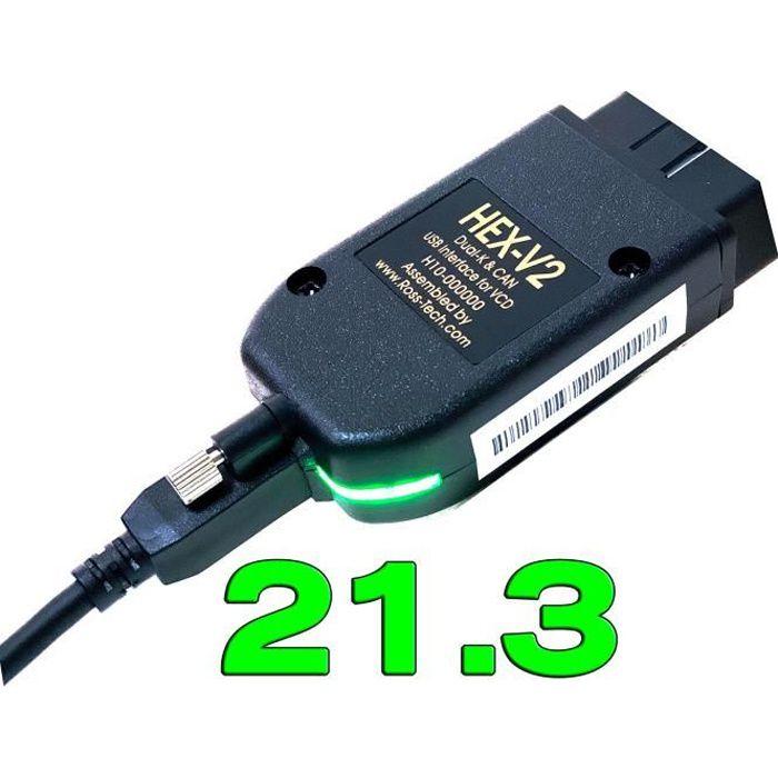 Interface HEX V2 VAGCOM 2021 VAG COM 21.3 pour diagnostic de voiture, pour VW, AUDI, Skoda, Seat, 20.12, polo 21.3