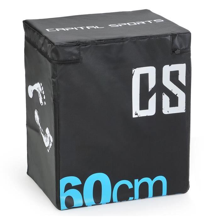 CAPITAL SPORTS Rooksy Soft Jump Box Boîte plyométrique 60x50x30 cm pour saut, parcours gym, entraînement militaire- noir