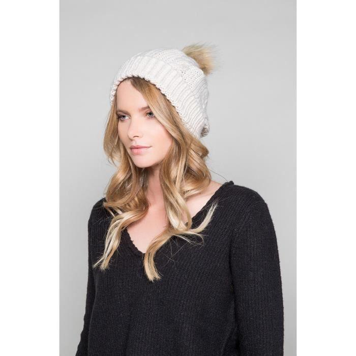 Bonnet à pompon PRALOUP - Couleur - Off White, Taille - TU