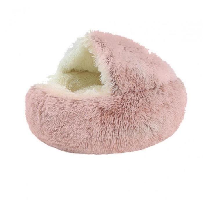 Pet Dog Bed Lit Nest Maison Kennel Pet Waterloo longue peluche de chat tapis de chiot Sofa super chaud et doux ronde Rose pour ani