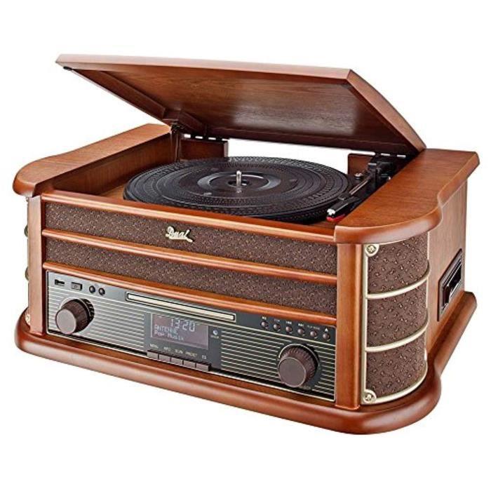 nostalgie système 50 DAB stéréo double NR avec plateau tournant (FM / DAB (+) radio, CD (MP3), USB, lecteur de cassettes, AUX-in,