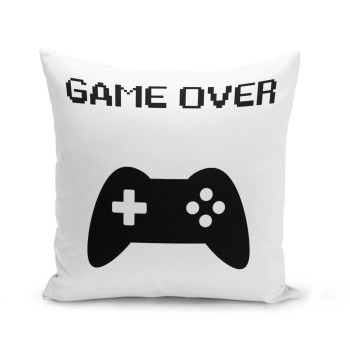 Housse de Coussin 40x40 cm Game Over Retro Gaming Jeux Video Manette Console