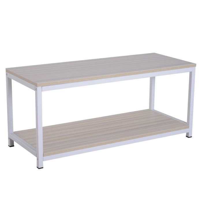 Table basse rectangulaire style industriel avec étagère 100L x 40l x 45H cm MDF E1 beige blanc 100x40x45cm Beige