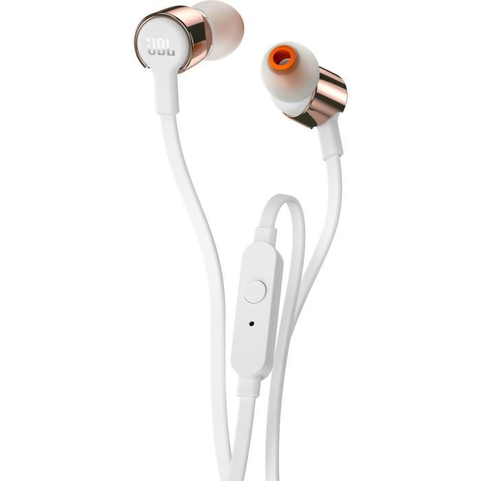 JBL Tune 210 Ecouteurs Bluetooth intra-auriculaire filaire - Pure Bass - Or Rose