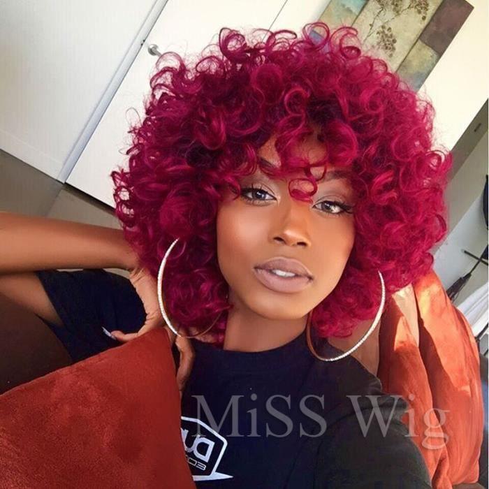 court kinky perruque frisée de vrais cheveux afro - curly perruques naturel pour les femmes