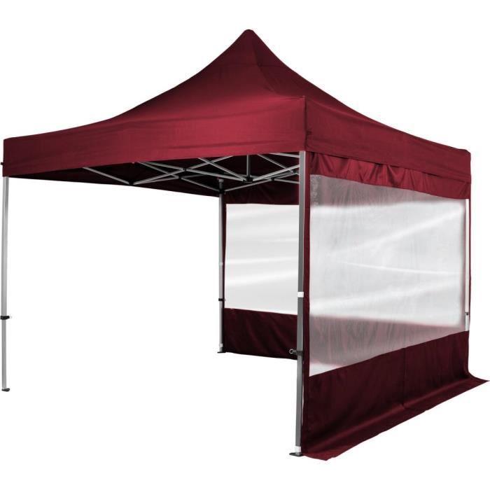 INSTENT® Tonnelle pliable rouge 3x3m en aluminium avec 2 panneaux latéraux Rouge