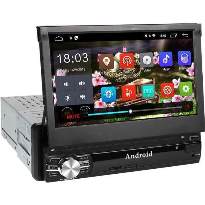 Autoradio GPS 1Din 7'' Écran Android 6.0 Auto Rétractable Tactile Radio FM/AM/SD/USB/MP5 - Multimédia Player Main Libre Radio Stéréo