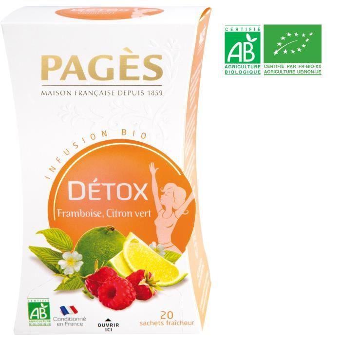 PAGES Infusion Détox - Framboise, Citron Vert - Bio