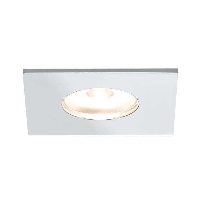 Paulmann 93550 Kit d'éclairage encastré des meubles Micro Line Mini LED Carré, chrome, kit de 5