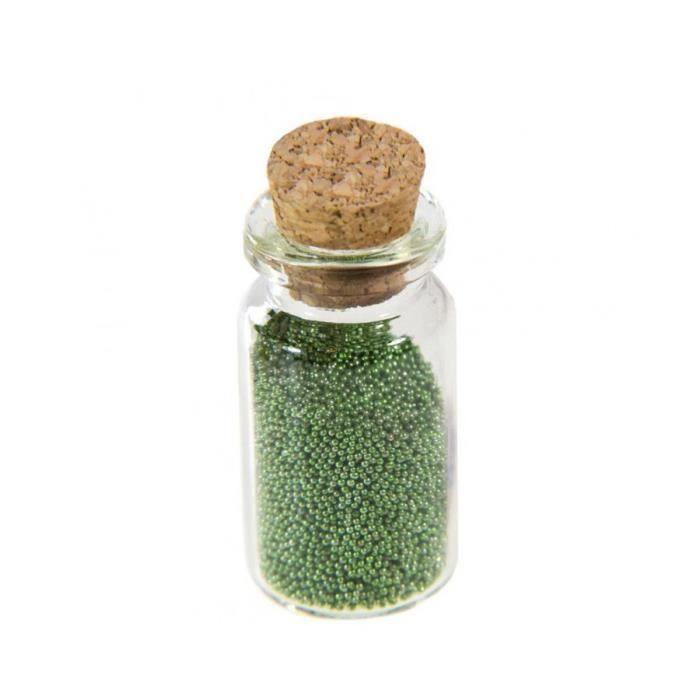Accessoires création microbilles caviar irisées en fiole Vert amande Vert Amande
