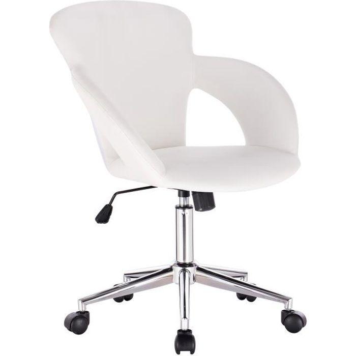 WOLTU Chaise de Bureau réglable en hauteur,Fauteuil de Direction en Cuir,design ergonomique,Blanc