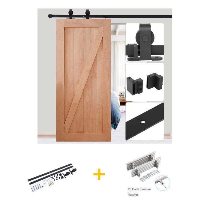 CCJH 6.6FT-200cm Quincaillerie Kit de Rail Roulette pour Porte Coulissante Ensemble Industriel Hardware kit pour Une Porte Suspendue en Bois