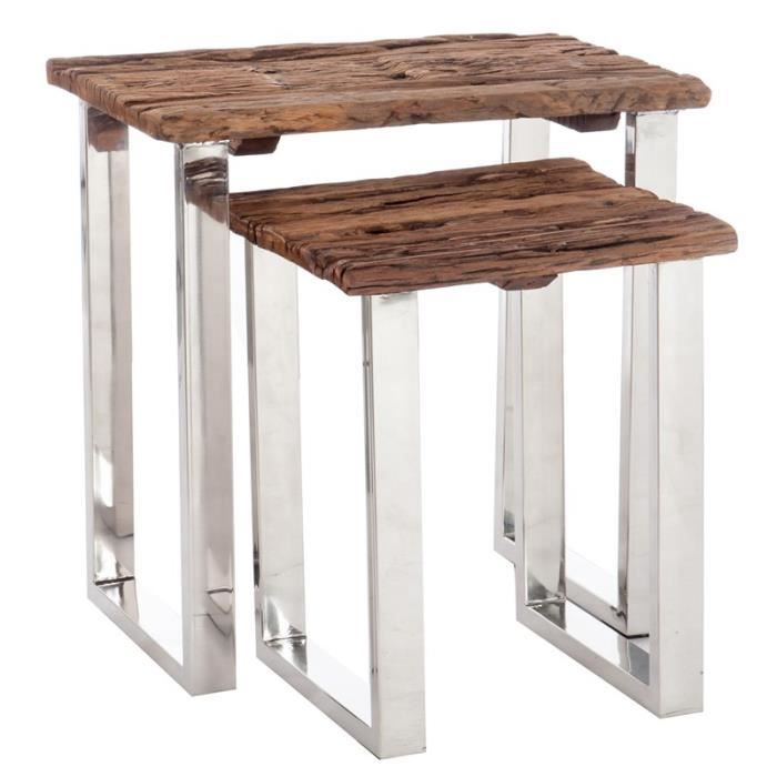 Set de 2 tables gigognes bois flott et m tal chrom for Pietement de table en bois