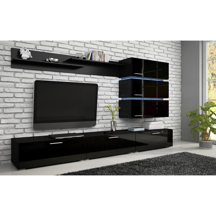 mur tv complet ref gala black achat vente meuble tv mur tv complet ref gala bla cdiscount. Black Bedroom Furniture Sets. Home Design Ideas
