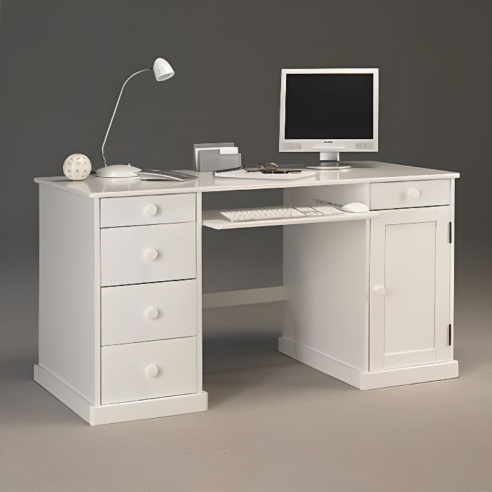 bureau informatique blanc de style anglais achat vente bureau bureau informatique blanc d. Black Bedroom Furniture Sets. Home Design Ideas