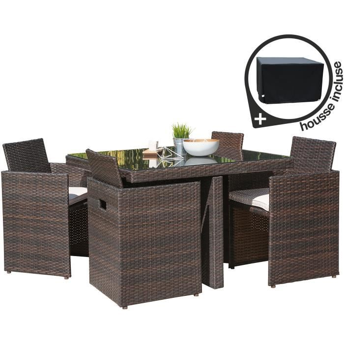 Ensemble de jardin en r sine tress e 4 places chocolat achat vente salon de jardin - Table salon de jardin resine tressee ...