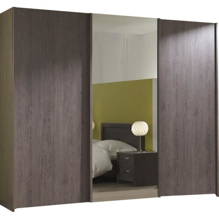 armoire chambre 3 portes coulissantes avec miroir achat. Black Bedroom Furniture Sets. Home Design Ideas