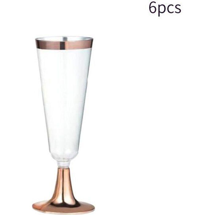 6 Pièces Tasses Verre à Vin Fantaisie Champagne Flûte Cocktail Fête Cadeau De Mariage Décoration Clair Jetable Boire Cerclé élég Achat Vente Coupe à Champagne Soldes Cdiscount