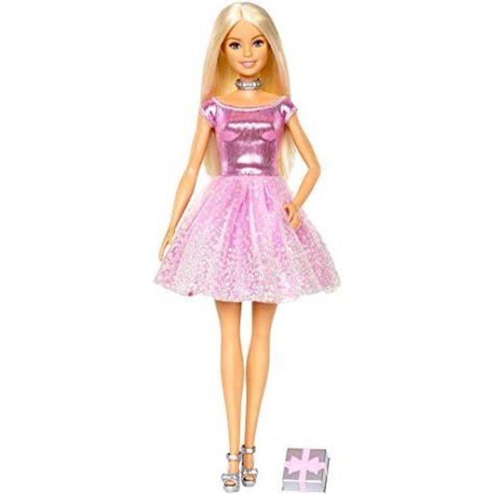 Barbie Poupee Joyeux Anniversaire Avec Robe Rose Et Cadeau Inclus Jouet Pour Enfant Gdj36 Gdj36 Achat Vente Poupee Cdiscount