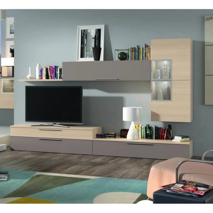 ensemble bibliotheque meuble tv finition chene achat vente biblioth que mob tv. Black Bedroom Furniture Sets. Home Design Ideas