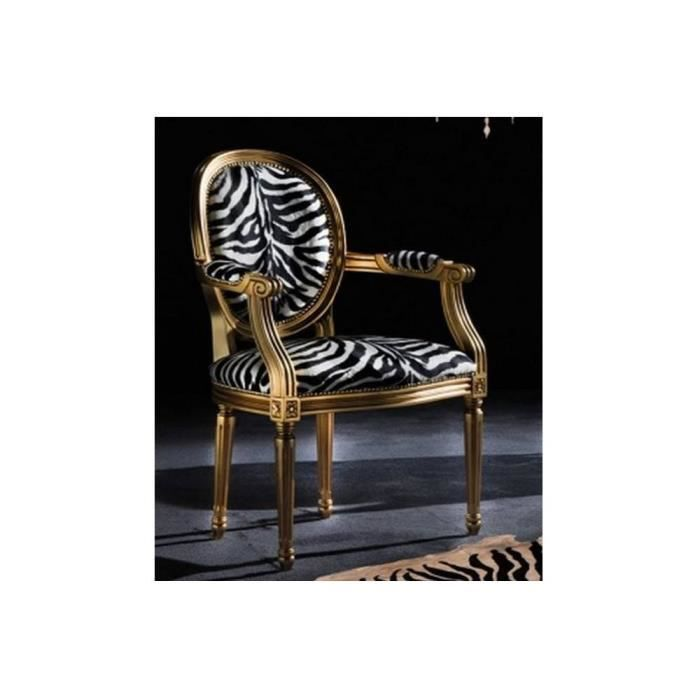 chaise medaillon cleopatra en microfibre zebre achat vente chaise marron cdiscount. Black Bedroom Furniture Sets. Home Design Ideas