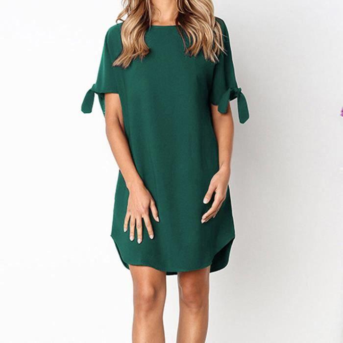 Robe Courte Femmes Ronde Casual Manches Courtes Party Mini Robe De Soiree Vert Vert Achat Vente Robe Cdiscount