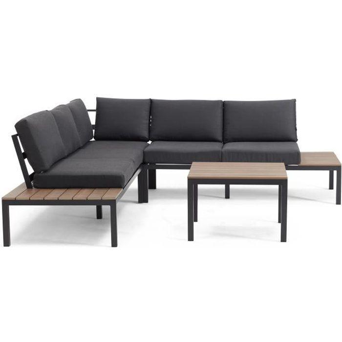 Salon de jardin 6 places - ensemble de jardin canapé d\'angle et table basse  - avec coussins