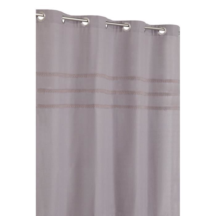 rideau polycoton 140x240 cm gris mauve achat vente rideau coton polyester cotton viscose. Black Bedroom Furniture Sets. Home Design Ideas