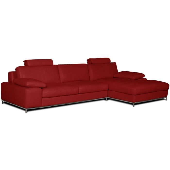 canape d 39 angle en cuir angle gauche rouge plus achat vente canap sofa divan cdiscount. Black Bedroom Furniture Sets. Home Design Ideas