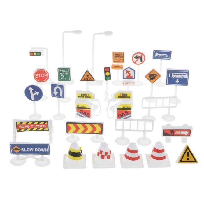 Jeu de 28 panneaux de signalisation en plastique pour jouets