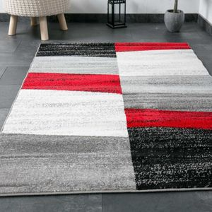 tapis salon rouge et noir achat vente pas cher. Black Bedroom Furniture Sets. Home Design Ideas
