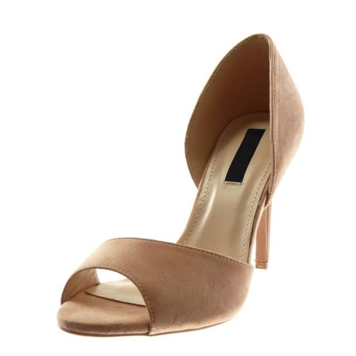 Angkorly - Chaussure Mode Escarpin sandale stiletto slip-on Peep-Toe femme Talon haut aiguille 10 CM - Rose - L6107 T 35