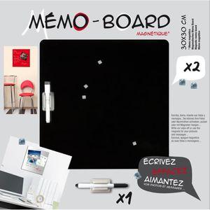 MÉMO - ARDOISE MURALE EMOTION Mémo board magnétique verre noir 30x30 cm