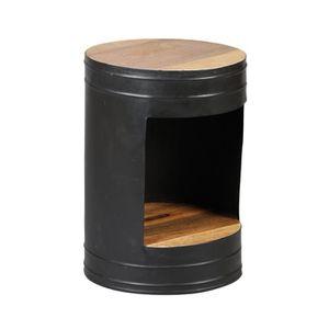 TABLE D'APPOINT Guéridon rond 39 cm en bois et acier - DALBERGIA