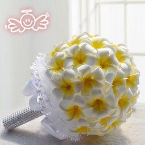 FLEUR ARTIFICIELLE HT 20cm Plumeria blanc + Jaune clair bouquet de fl