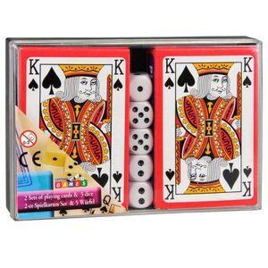 DÉS - JEU DE DÉS Boite de 2 Jeux de 54 Cartes et 5 Dés - Jeu Carte