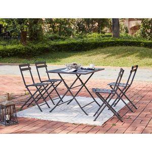 SALON DE JARDIN  Ensemble repas de jardin - Table 110 cm + 4 chaise