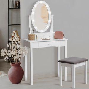 COIFFEUSE Coiffeuse Bella avec miroir LED et tabouret