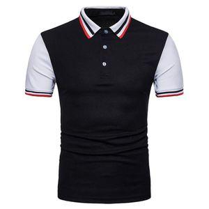 T-SHIRT Polo Homme Shirt Contraste Col Golf Tennis Sport T