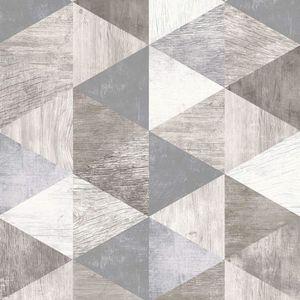 Holden Gris Teton Géométrique Papier Peint 90531 or avec Métallique faits saillants