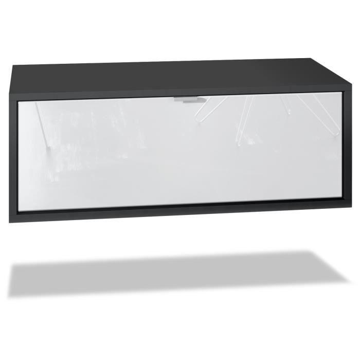 Meuble TV Lana 80 armoire murale lowboard 80 x 29 x 37 cm, caisson en noir mat, façades en Blanc haute brillance