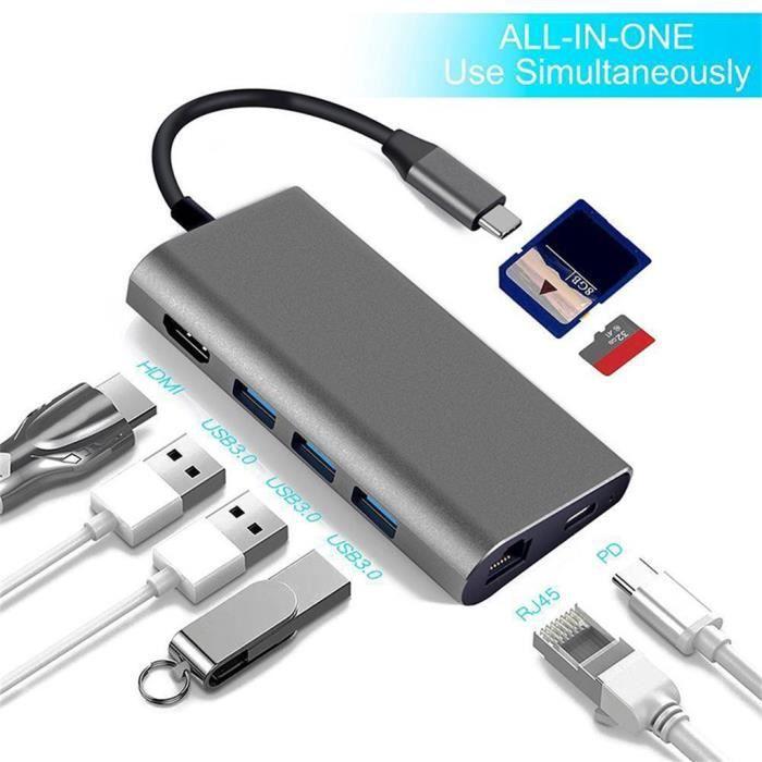 Type C-Hub 8-en-1 Adaptateur USB C à HDMI avec Ethernet MicroSD - carte SD Lire_A10239