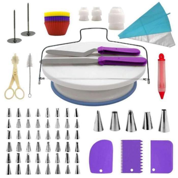 Plateau Tournant de Gâteau, 106pcs Kit de Décoration de Gâteau Professionnel Ustensiles Kit de Pâtisserie Violet
