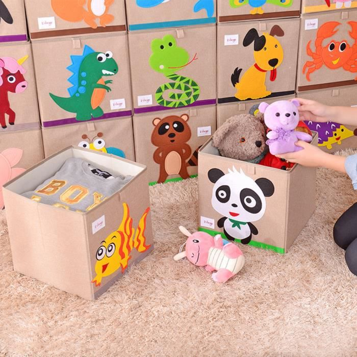 Boîte de rangement pour enfants Jouets motif de Panda Organisateur de cubes de rangement en tissu écologiques