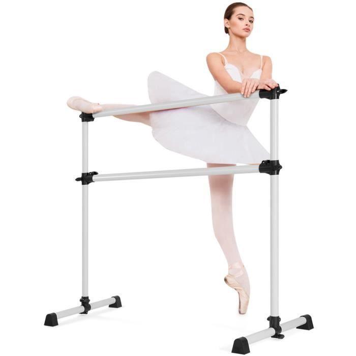 COSTWAY Double Barre de Danse Classique Barre de Gymnastique Hauteur Réglable 123x119CM Pose Libre Diamètre de Barre de 38MM