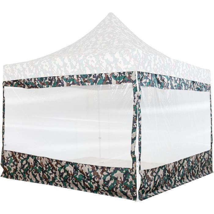 INSTENT PRO Panneau latéral avec fenêtre panoramique XXL, couleur camouflage, pour tonnelle 3x3m