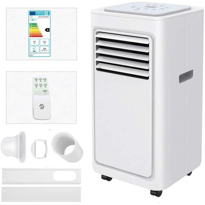 Famgizmo Climatiseur Portable, 7000 BTU Climatiseur Mobile, Refroidissement, Ventilateur, Déshumidificateur, Mode Veille, Set Iso75