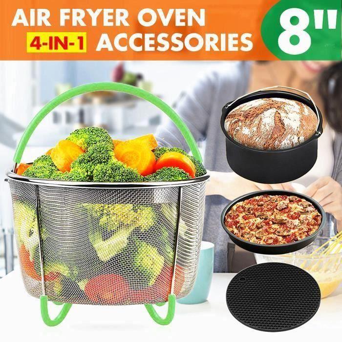 4 en 1 8inch Friteuse à air Four Accessoires Panier Cuisine Cuisson Pizza Gâteau FR45912